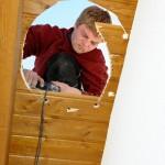 Aussägen der Dachschalung (Dachdurchführung)