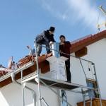 Kaminmontage über Dach